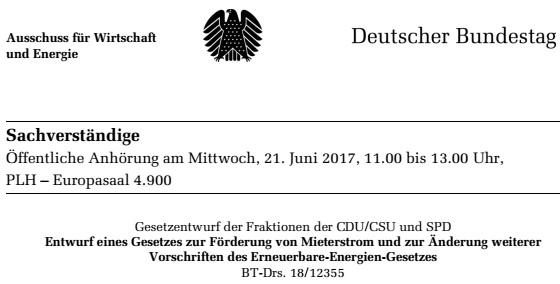 Sachverständiger für MieterstromGesetz im Wirtschaftsausschuss des deutschen Bundestags